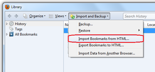 How to import bookmarks into firefox from old computer