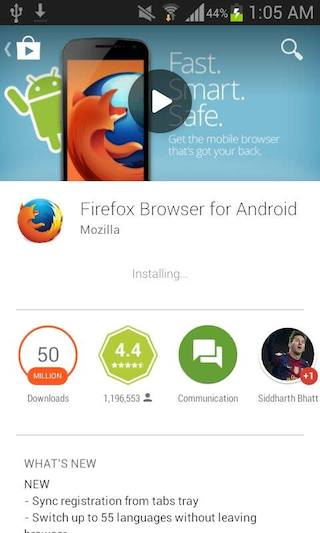 Install Firefox on an Android device using Google Play | How
