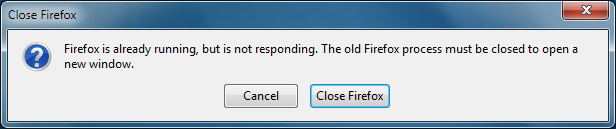 Firefox is already running but is not responding