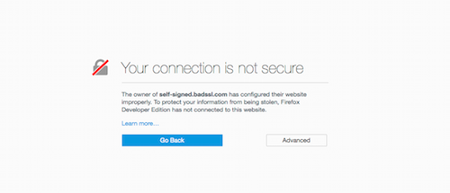 Your connection is not secure page