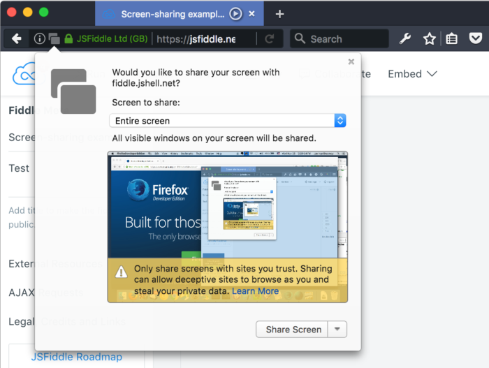 Share browser windows or your screen with sites you trust | How to