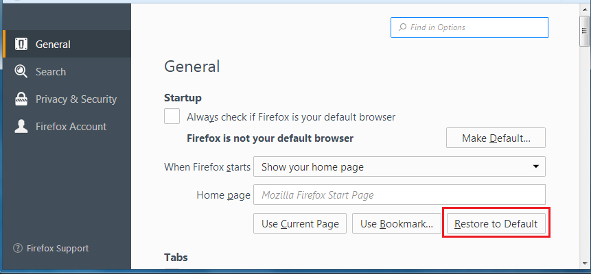 Firefox's default home page has quick links to common features | How