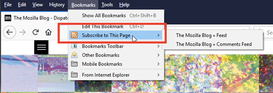 Live Bookmarks - Subscribe to a web page for news and