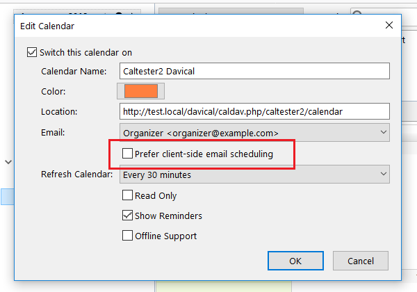 Enable email invitations for CalDAV servers configured to do