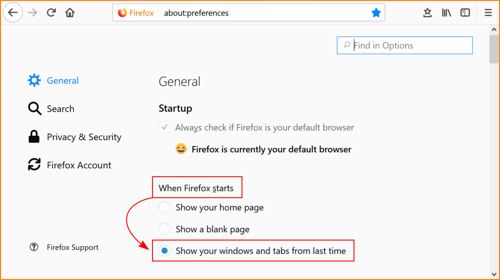 Screenshot of about:preferences in Firefox: 'General' heading, radio button 'When Firefox starts' selected as 'Show your windows and tabs from last time'.