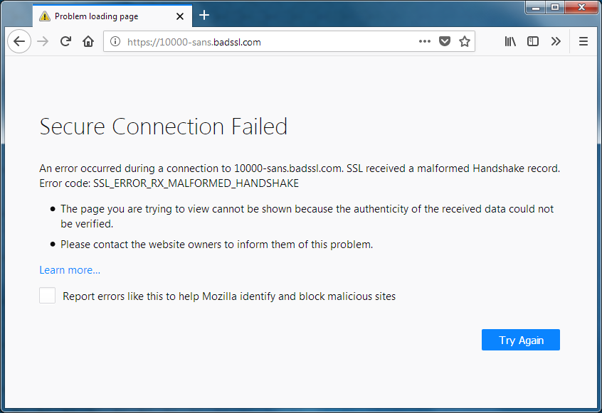 Secure connection failed and Firefox did not connect