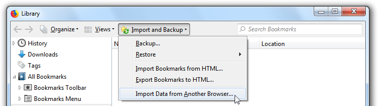 Import Bookmarks and personal data from another browser