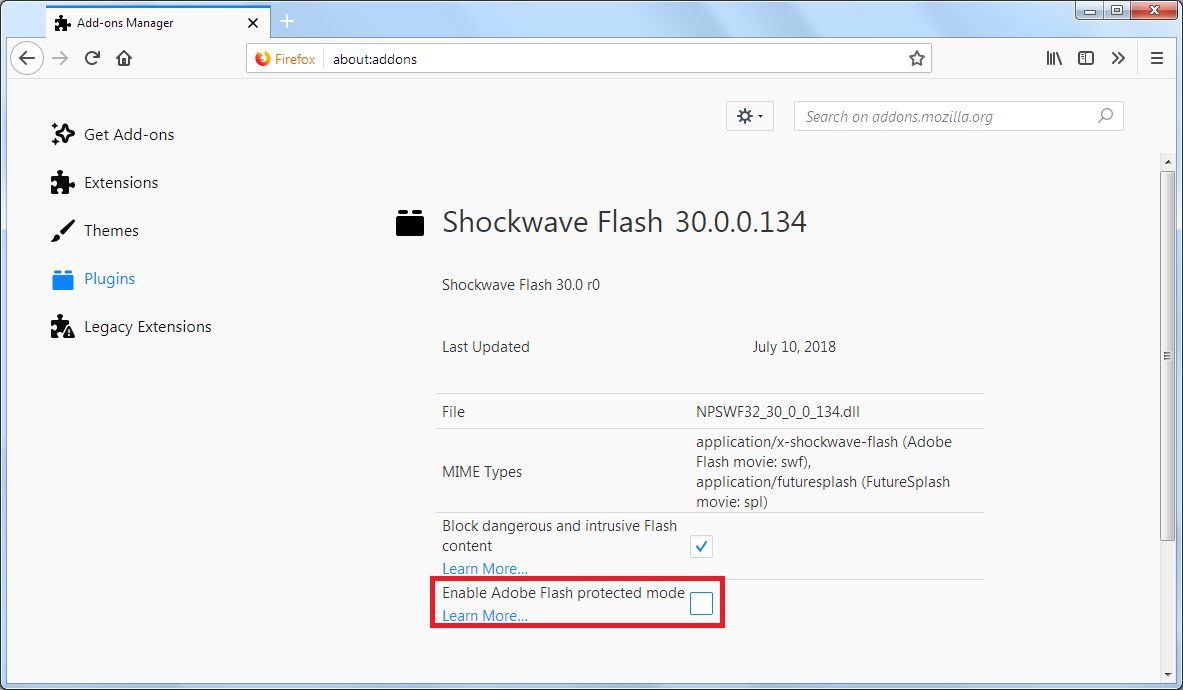 Adobe Flash protected mode in Firefox | Troubleshooting | Mozilla