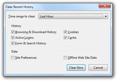 Firefox Clear Recent History dialog
