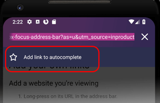 Autocomplete settings in the Firefox Focus address bar | How