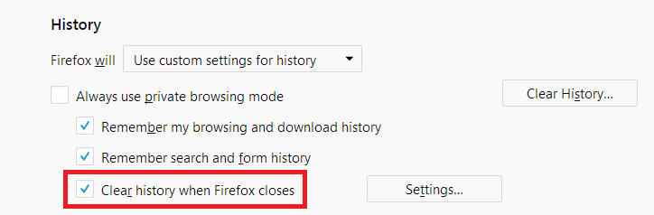 Fx60Custom-ClearHistoryWhenFirefoxCloses