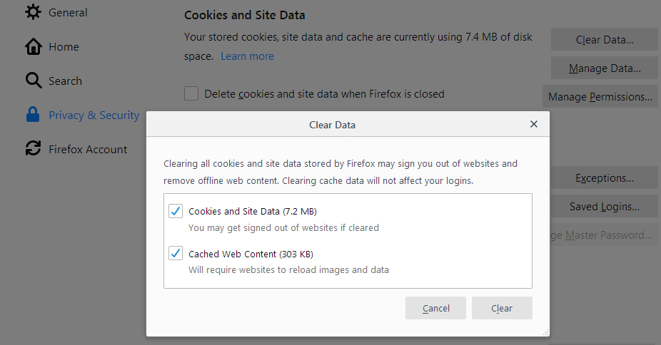 "Firefox clear data dialog with boxes checked for ""cookies and site data"" and ""cached web content"""