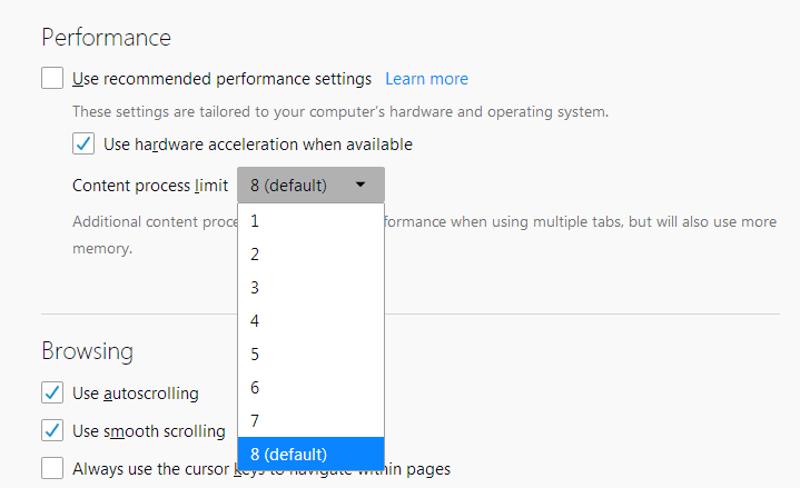 Firefox's performance settings | How to | Mozilla Support