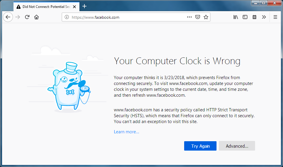 How to troubleshoot time related errors on secure websites
