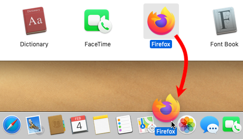Dragging Firefox to Dock