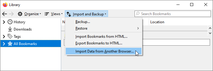 Bookmark Library Import Data from Another Browser