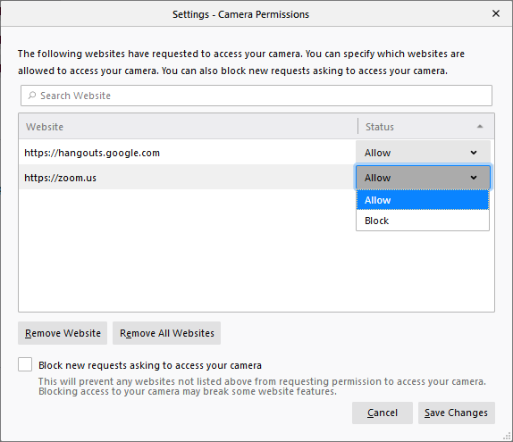 Camera Permission Settings - Options page