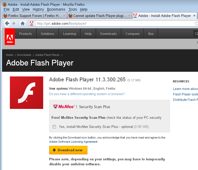 flash player download for firefox