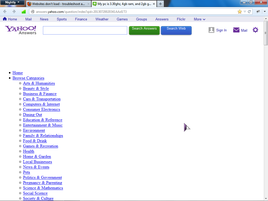 Issues With Certain Webpages Not Loading Correctly Firefox Support Forum Mozilla Support