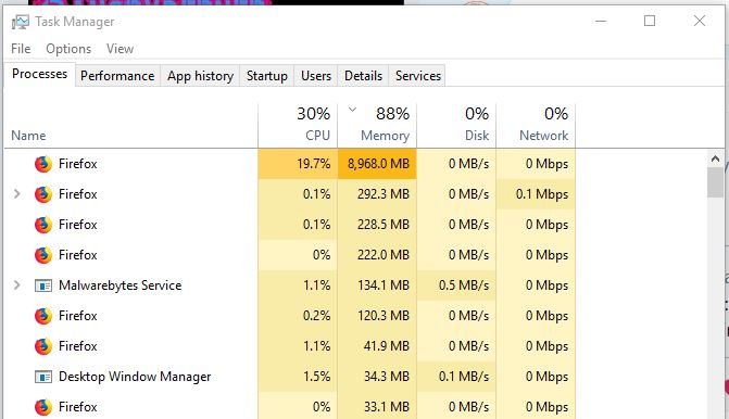 I Have Firefox Quantum Beta And Am Having Issues With It Chewing Up Alot Of Memory 7gb I Do Have A Screen Capture Of The Task Manager Firefox Hilfeforum Mozilla Hilfe