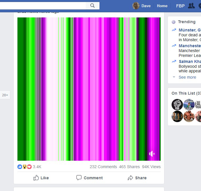 Can't see any video on facebook, It shows only weird colours
